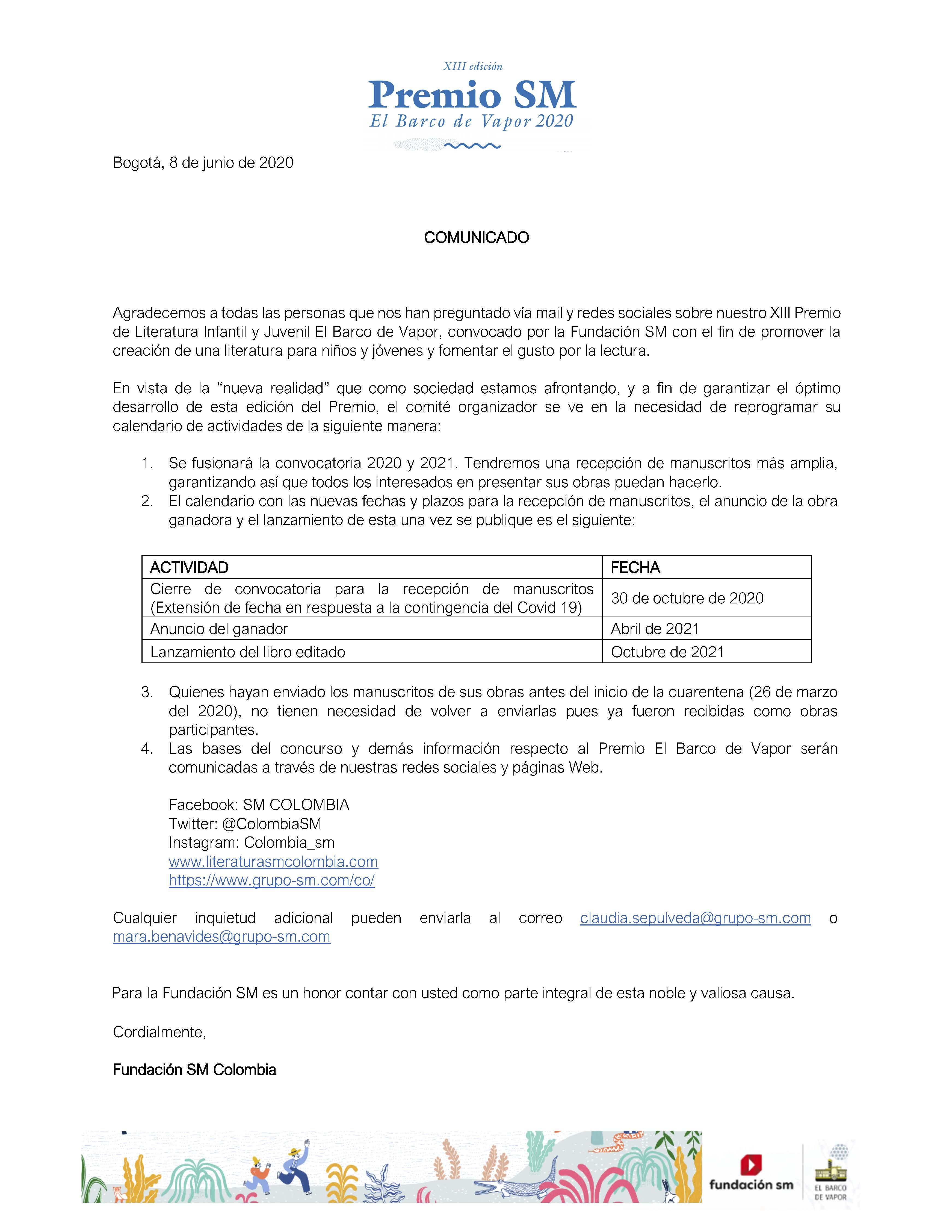 Comunicado Oficial XIII Premio El Barco de Vapor 2020